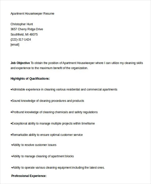 Housekeeping Resume Example - 9+ Free Word, PDF Documents Download