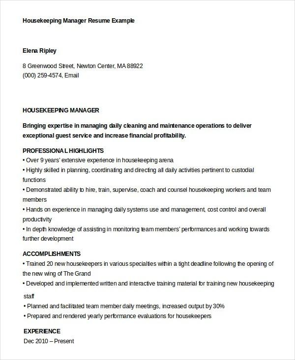 Housekeeping Resume Example - 9+ Free Word, PDF Documents Download