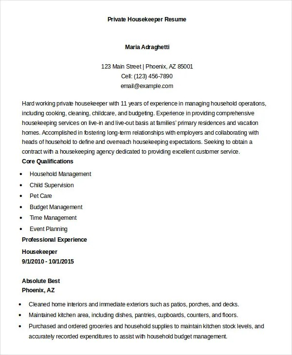 Housekeeping Resume Example - 9+ Free Word, PDF Documents Download - housekeeping resume