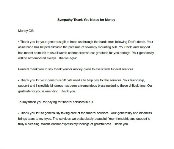 Sympathy Thank You Note Template - 8+ Free Word, Excel, PDF Format - funeral thank you note