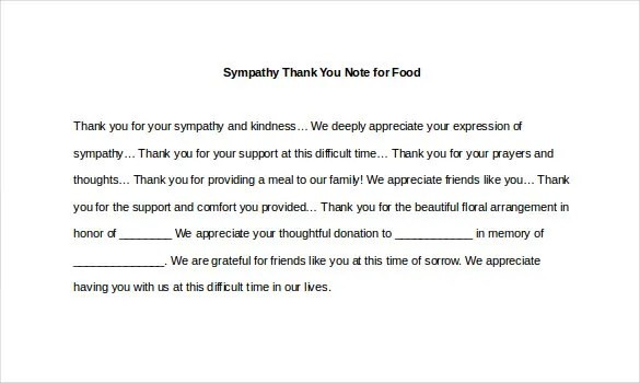 Sympathy Thank You Note Template - 8+ Free Word, Excel, PDF Format