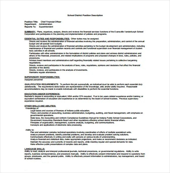 10+ Chief Financial Officer Job Description Templates \u2013 Free Sample