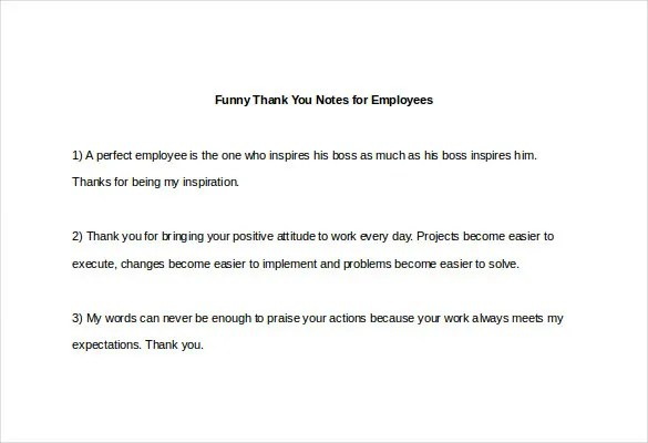 Funny Thank You Note \u2013 8+ Free Word, Excel, PDF Format Download