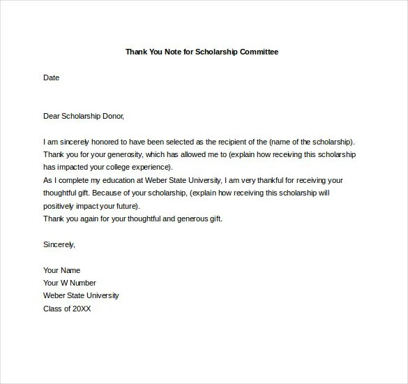 format thank you note for scholarship u2013 8 free word excel