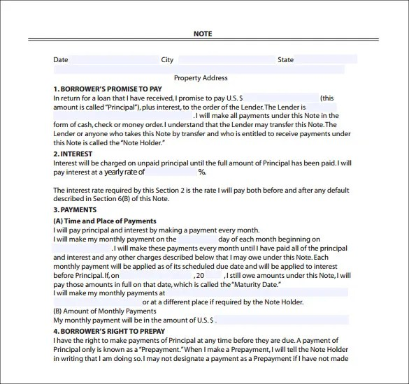 Mortgage Note Templates \u2013 6+ Free Word, Format Download! Free - mortgage note