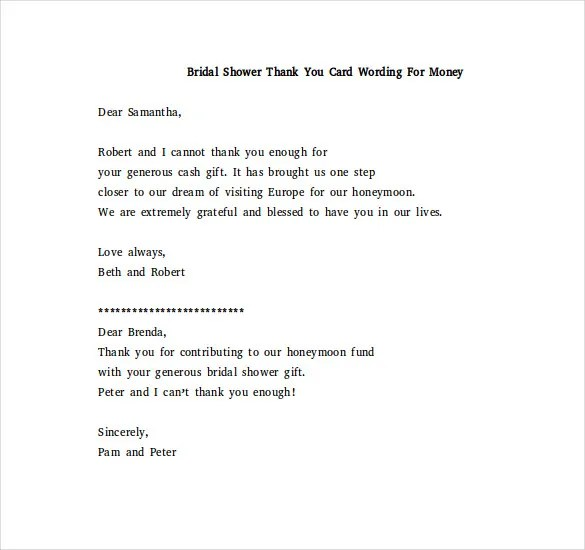 Bridal Shower Thank You Note \u2013 6+ Free Word, Excel, PDF Format