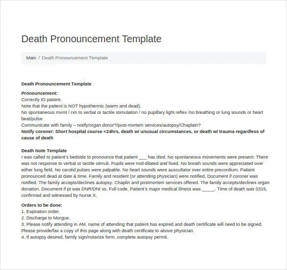 death summary template