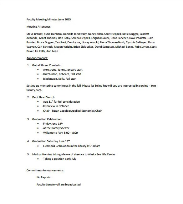Meeting Notes Template - 28+ Free Word, PDF Documents Download