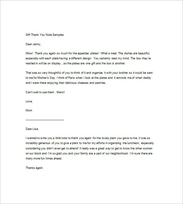 9+ Sample Thank You Notes \u2013 Free Sample, Example, Format Download