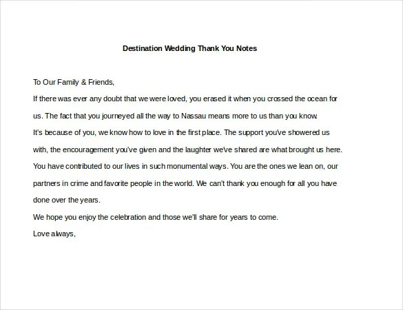 6+ Wedding Thank You Notes \u2013 Free Sample, Example, Format Download