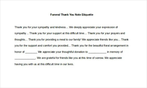 8+ Funeral Thank You Notes \u2013 Free Sample, Example, Format Download