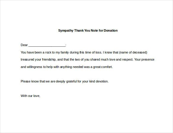 6+ Sympathy Thank You Notes \u2013 Free Sample, Example, Format Download