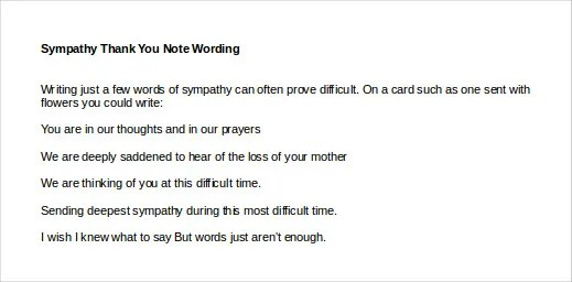 4+ Sympathy Thank You Notes - Free Sample, Example, Format Download