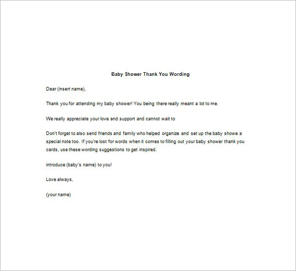 8+ Baby Shower Thank You Notes \u2013 Free Sample, Example, Format