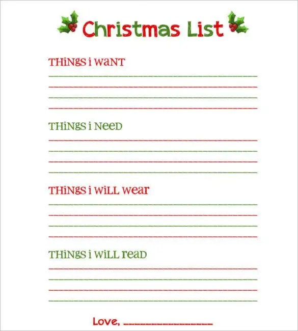 27+ Christmas Gift List Templates - Free Printable Word, PDF, JPEG - printable sign up sheet template