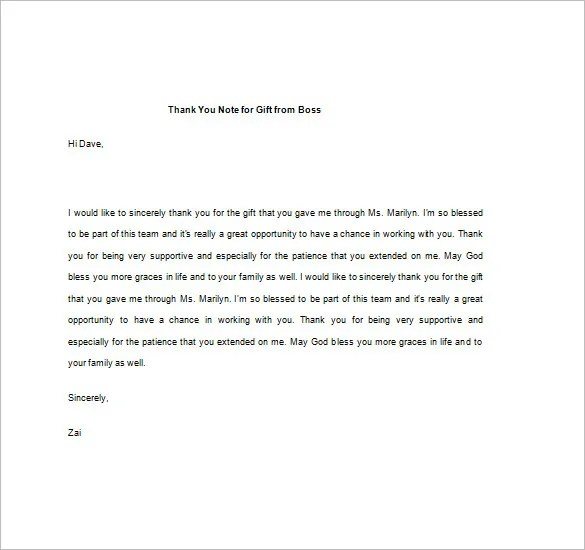 8+ Thank You Note For Gift \u2013 8+ Free Sample, Example, Format