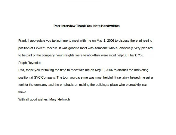 8+ Post Interview Thank You Notes \u2013 Free Sample, Example, Format