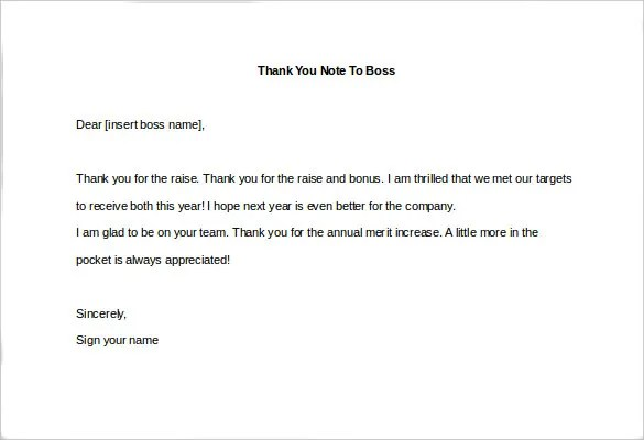 10+ Thank You Notes To Boss u2013 Free Sample, Example, Format - how to write salary increment letter