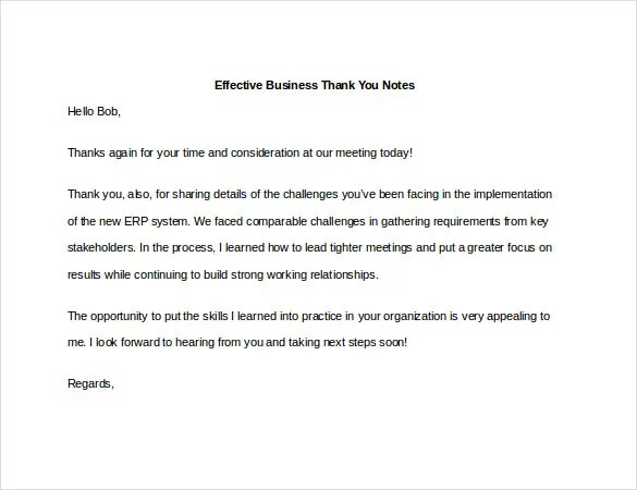 8+ Business Thank You Notes - Free Sample, Example, Format Download - business thank you note