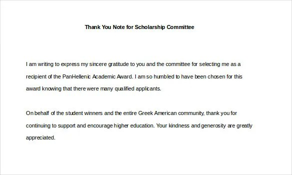 9+ Thank You Notes For Scholarship \u2013 Free Sample, Example, Format