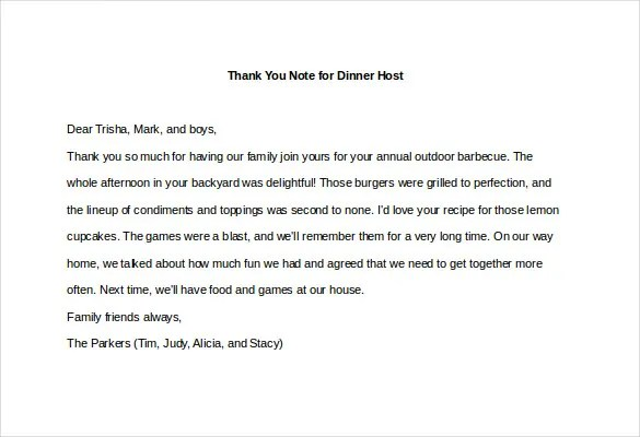8+ Thank You Note For Dinner \u2013 Free Sample, Example, Format Download - Thank You Note