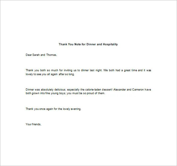8+ Thank You Note For Dinner u2013 Free Sample, Example, Format - sample thank you for your business letter
