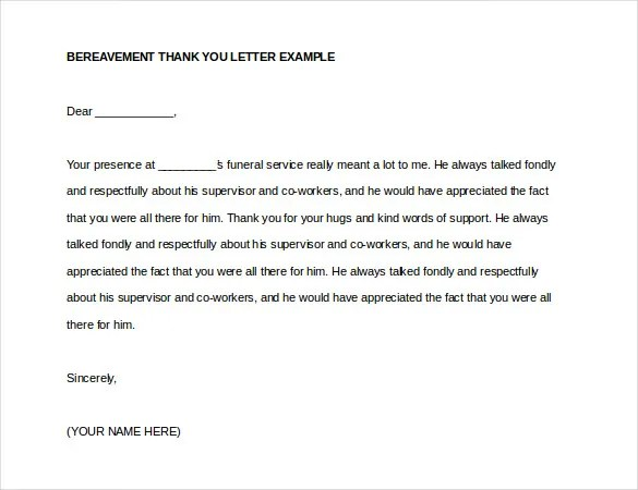 10+ Bereavement Thank You Notes u2013 Free Sample, Example, format - funeral thank you note