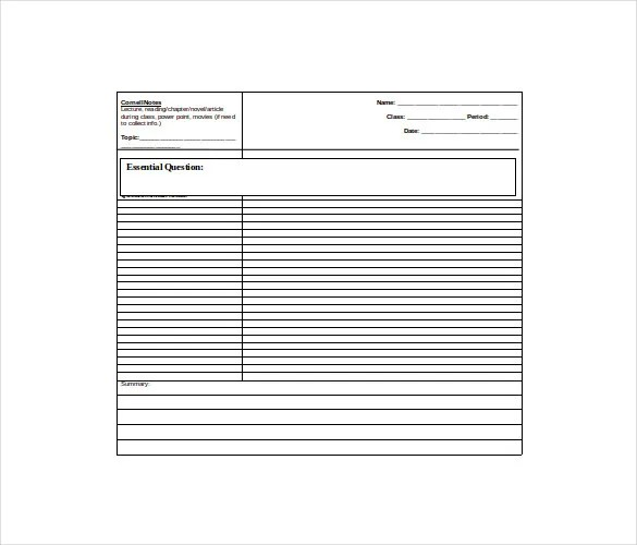 10+ Cornell Note Templates \u2013 Free Sample, Example, Format Download - note paper template