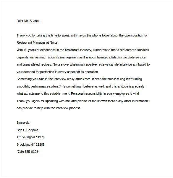 8+ Thank You Note After Phone Interview \u2013 Free Sample, Example