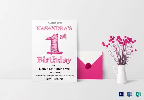 32+ First Birthday Invitation Templates \u2013 Free Sample, Example
