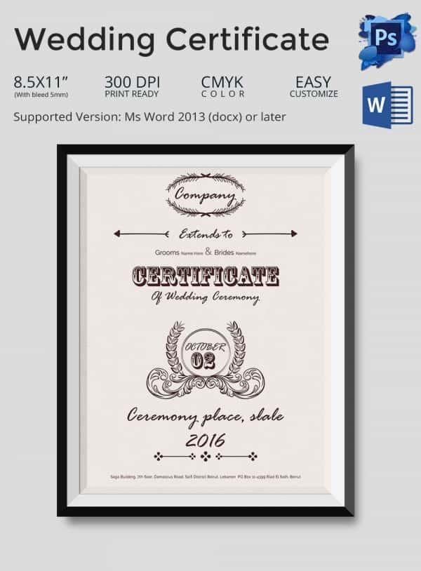 Wedding Certificate Template Sample Marriage Certificate Marriage - certificate template doc