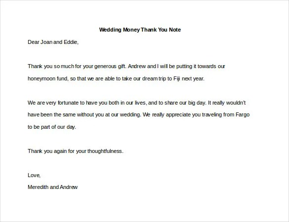 8+ Thank You Note For Money \u2013 Free Sample, Example, Format Download - Thank You Note