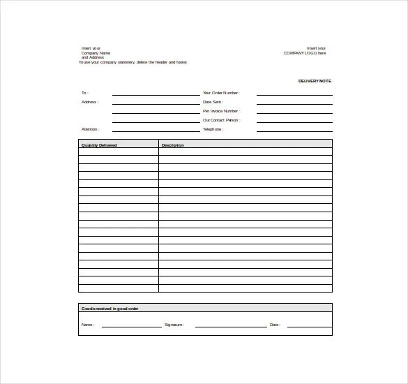 10+ Delivery Note Templates - PDF, DOC Free  Premium Templates - dispatch note template