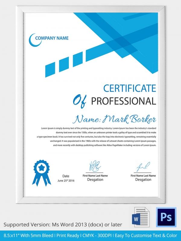 certificate samples in word format - Militarybralicious - certification template word