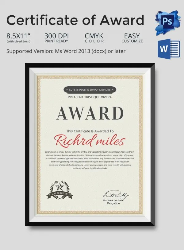Editable Award Certificate Template - blank certificate of recognition