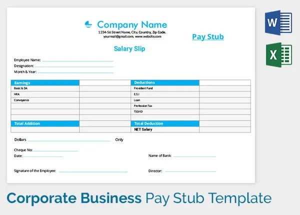 Pay Stub Template - 17+ Free Samples, Examples \ Formats Download - payroll slip format