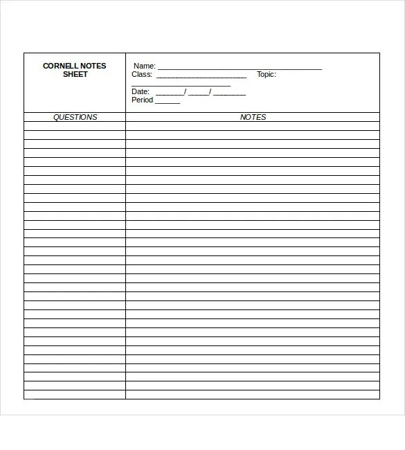 Cornell Notes Taking - 5+ Free Sample, Example, Format Download