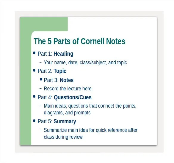 6+ Cornell Notes PowerPoints - Free Sample, Example, Format Download - Sample Cornell Note