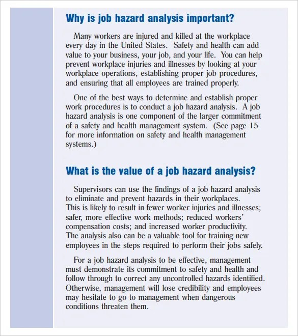 Hazard Analysis Template \u2013 11+ Free Word, Excel, PDF Format Download - hazard analysis template