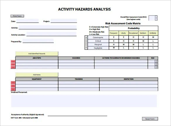 Hazard Analysis Template \u2013 11+ Free Word, Excel, PDF Format Download
