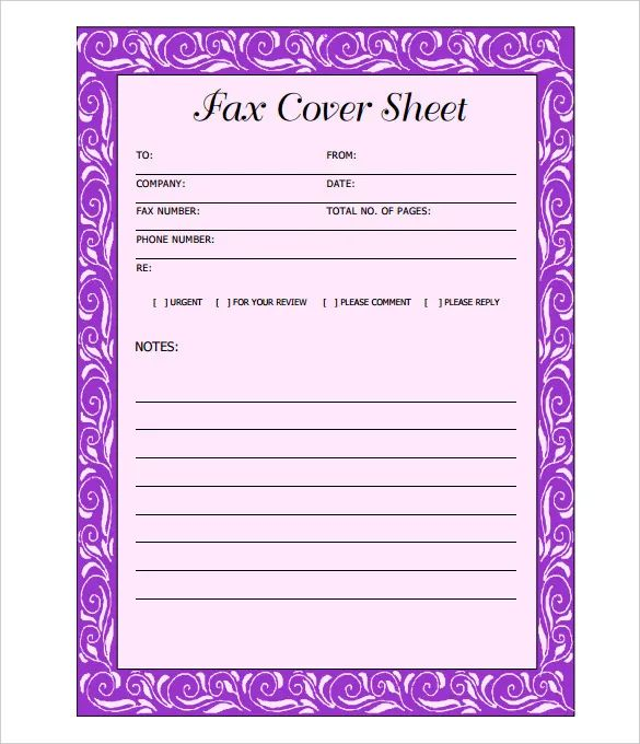 fax cover sheet template microsoft word