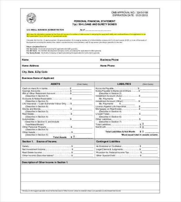 Free Download Business Financial Statement Form Sample Free