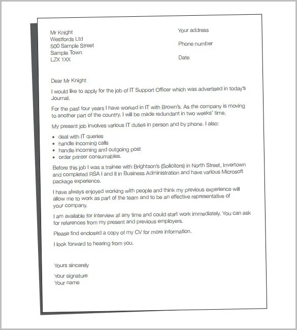 Cover Letter Template \u2013 20+ Free Word, PDF Documents Download - cover letter resume sample