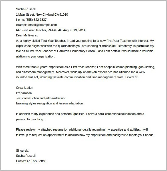 Cover Letter Template u2013 20+ Free Word, PDF Documents Download - teaching cover letter template