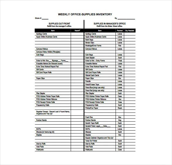 office supplies list template - Acurlunamedia