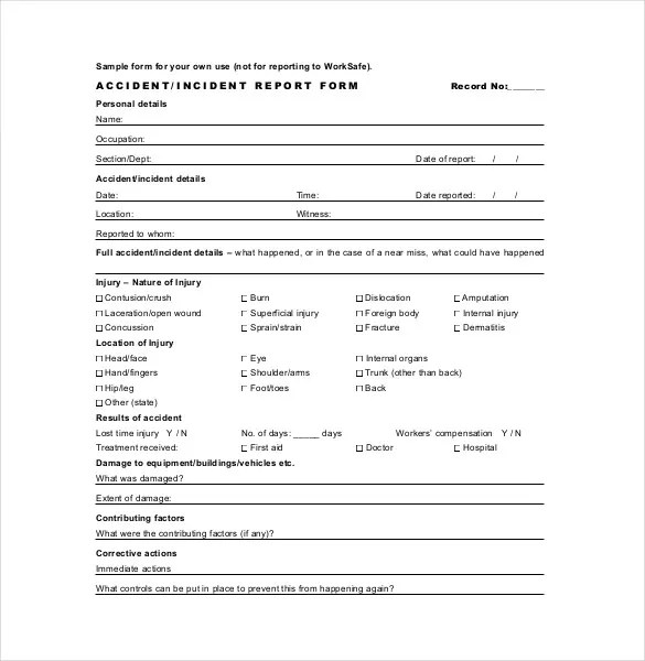 basic incident report form - Goalgoodwinmetals - Accident Report Template
