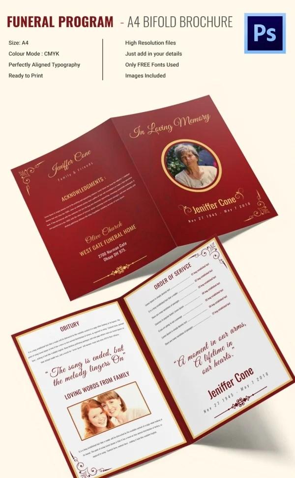 30+ Funeral Program Brochure Templates \u2013 Free Word, PSD, PDF, Excel - sample bi fold brochure