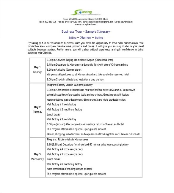 business meeting itinerary template - Apmayssconstruction