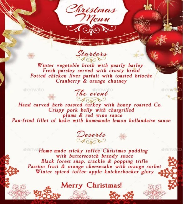 free christmas dinner menu template - 28 images - christmas menu - dinner menu templates free
