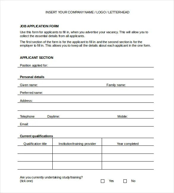 Application Templates \u2013 20+ Free Word, Excel, PDF Documents Download - application templates for word
